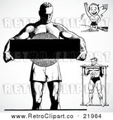 August 19th, 2017: Vector Clipart Black and White Retro Bodybuilders by BestVector