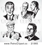 Vector Clipart Five Black and White Retro Business Men by BestVector