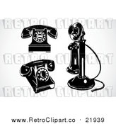 Vector Clipart of 3 Retro Black and White Phones by BestVector