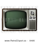 Vector Clipart of a 3d Retro Box Television on White by Geo Images