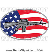 Vector Clipart of a Armalite M-16 Colt AR-15 Assault Rifle Gun over an American Flag Oval by Patrimonio