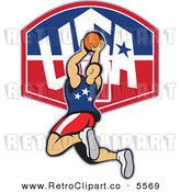 Vector Clipart of a Basketball Player Jumping over a USA Backboard on White by Patrimonio