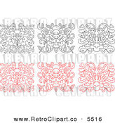 Vector Clipart of a Black and White and Red Oriental Floral Design Elements on White by Seamartini Graphics Media