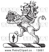 Vector Clipart of a Black and White Lion Crest with a Flower and Shield by Picsburg