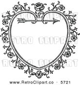 Vector Clipart of a Black and White Ornate Vintage Floral Heart and Arrow Frame, on White by Prawny Vintage