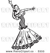 Vector Clipart of a Black and White Retro Beautiful Mexican Flaminco Dancer by BestVector