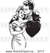 Vector Clipart of a Black and White Retro Couple Romanticly Embracing with a Heart by Picsburg