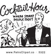 Vector Clipart of a Black and White Retro Couple Toasting at Cocktail Hour by BestVector