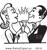 Vector Clipart of a Black and White Retro Couple Toasting by BestVector