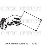 Vector Clipart of a Black and White Retro Hand Holding a Business Card by BestVector