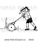 Vector Clipart of a Black and White Retro Little Boy Mowing a Lawn by Prawny Vintage