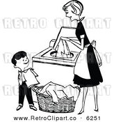 Vector Clipart of a Black and White Retro Mother and Son Folding and Washing Laundry by Prawny Vintage