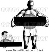 Vector Clipart of a Black and White Retro Strong Boy and Man with Copyspace by BestVector
