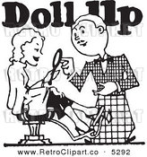 Vector Clipart of a Black and White Retro Stylist with a Client and Doll up Text by BestVector