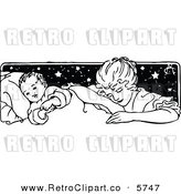 Vector Clipart of a Black and White Vintage Mother Tucking Her Baby in by Prawny Vintage