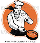 Vector Clipart of a Chef Man Cooking with a Frying Pan over an Orange Circle by Patrimonio