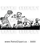 Vector Clipart of a Coloring Page of a Retro Black and White Boy and Girl Picking Flowers by Prawny Vintage