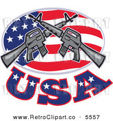 Vector Clipart of a Couple of Armalite M-16 Colt Ar-15 Assault Rifles Crossed over an American Flag Oval with USA Text by Patrimonio