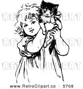 Vector Clipart of a Cute Black and White Coloring Page of a Retro Girl Holding up a Kitten by Prawny Vintage