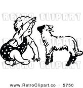 Vector Clipart of a Cute Black and White Retro Toddler Girl Playing with a Lamb by Prawny Vintage