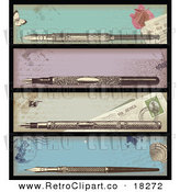Vector Clipart of a Digital Collage of Antique Ink Pens in Cases by Anja Kaiser