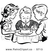 Vector Clipart of a Group of Black and White Children Watching a Boy Blow out His Birthday Cake Candles by Prawny Vintage