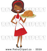 Vector Clipart of a Happy Black Retro Housewife Carrying a Roasted Thanksgiving or Christmas Turkey by Amanda Kate