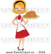 Vector Clipart of a Happy Retro Housewife Carrying a Roasted Thanksgiving or Christmas Turkey by Amanda Kate