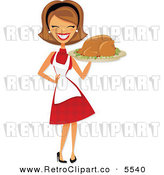Vector Clipart of a Happy Retro Housewife Carrying a Roasted Thanksgiving or Christmas Turkey on a Platter by Amanda Kate