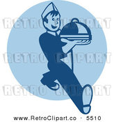 Vector Clipart of a Happy Retro Waiter Serving a Platter over a Blue Circle by Patrimonio