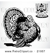 Vector Clipart of a Hungry Pilgrim and a Big Turkey Bird by BestVector