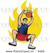 Vector Clipart of a Male Basketball Player Dunking the Ball over Flames by Patrimonio