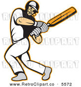 Vector Clipart of a Male Batsman Swinging a Cricket Bat by Patrimonio