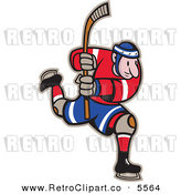 Vector Clipart of a Male Hockey Player Skating and Holding up a Stick by Patrimonio