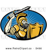 Vector Clipart of a Muscular Retro Roman Soldier Holding up His Sword over a Blue Oval by Patrimonio