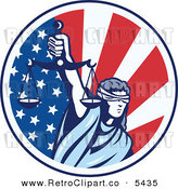 Vector Clipart of a Patriotic Retro Circle of Lady Justice Holding Scales up over an American Flag by Patrimonio