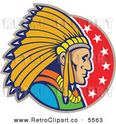 Vector Clipart of a Proud Native American Indian Chief Man in Profile over a Circle of Stars by Patrimonio