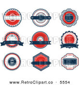Vector Clipart of a Red White and Blue Banners and Retro Labels on White by Seamartini Graphics Media
