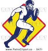 Vector Clipart of a Retro American Football Player Quaterback Running over a Yellow Diamond by Patrimonio