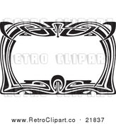 Vector Clipart of a Retro Black and White Art Deco Styled Border by BestVector