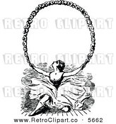 Vector Clipart of a Retro Black and White Ballerina Holding up a Floral Frame by Prawny Vintage