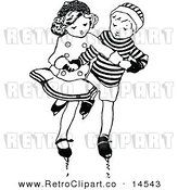 Vector Clipart of a Retro Black and White Boy and Girl Ice Skating by Prawny Vintage