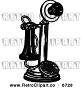 Vector Clipart of a Retro Black and White Candlestick Phone by Prawny Vintage