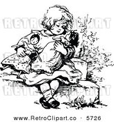 Vector Clipart of a Retro Black and White Coloring Page Girl Playing with Dolls by Prawny Vintage