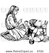 Vector Clipart of a Retro Black and White Drawing of a Girl Talking to Her Toys by Prawny Vintage