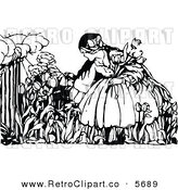 Vector Clipart of a Retro Black and White Friendly Girl Picking Flowers by Prawny Vintage