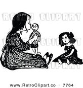Vector Clipart of a Retro Black and White Girl Kissing Her Male Doll by Prawny Vintage