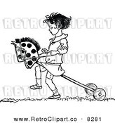 Vector Clipart of a Retro Black and White Girl Playing with a Hobby Horse by Prawny Vintage