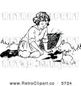 Vector Clipart of a Retro Black and White Girl Playing with Bunny Rabbits by Prawny Vintage