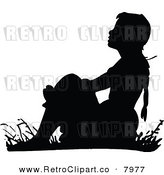 Vector Clipart of a Retro Black and White Girl Sitting in Grass by Prawny Vintage